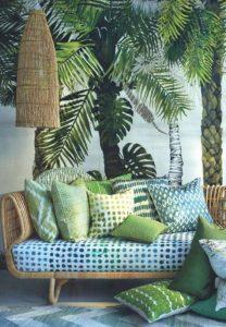 decorar tu casa en primavera Azules suaves y verde pasto.