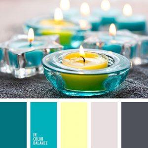 decorar tu casa en primavera Turquesa, Amarillo Neón y Gris.